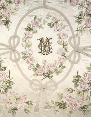 A MONOGRAMMED BEDCOVER