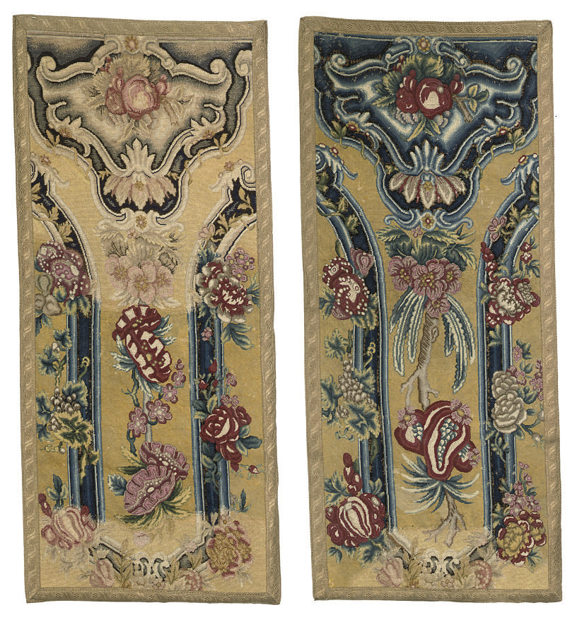 A NEAR PAIR OF NEEDLEWORK PANE