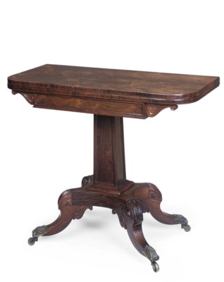 A GEORGE IV ROSEWOOD TEA TABLE