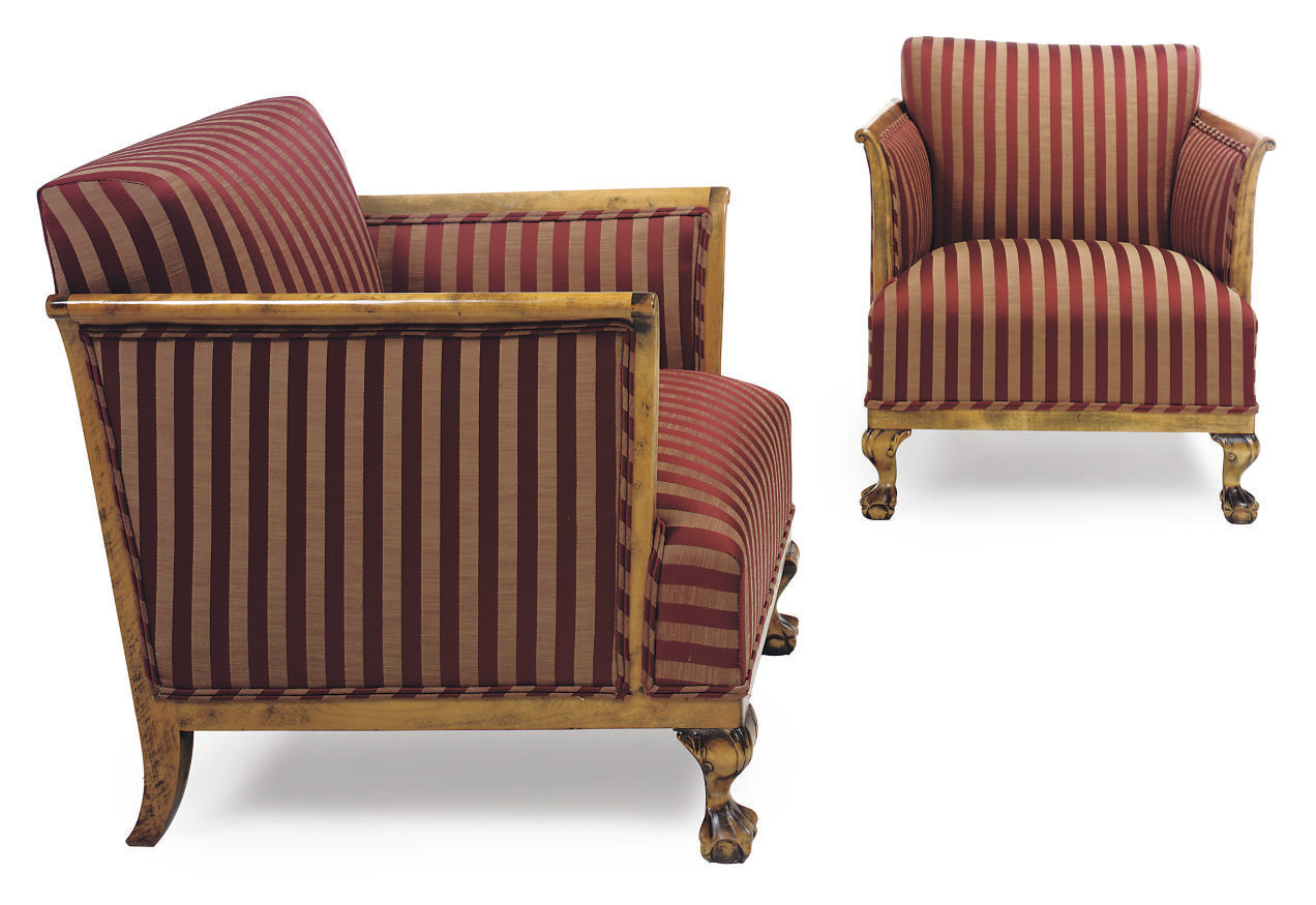 A PAIR OF BIRCH ARMCHAIRS