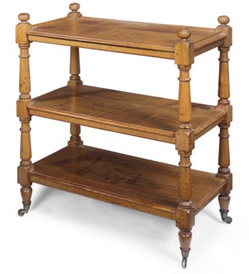 A VICTORIAN OAK THREE TIER BUF
