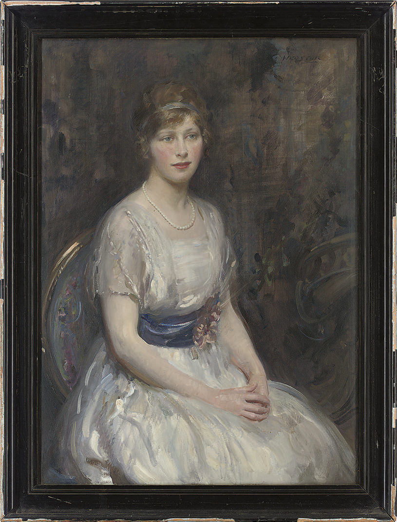 Portrait of a young lady, seated three-quarter-length, in a white dress with blue sash