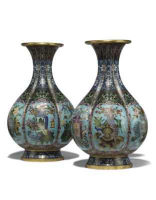A PAIR OF CHINESE LOBED CLOISO