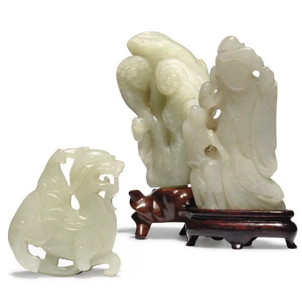 THREE CHINESE WHITE JADE CARVI