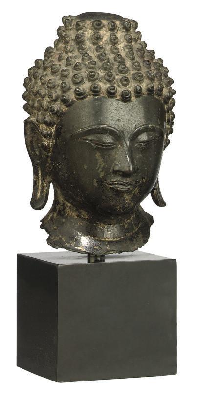 A THAI BRONZE BUDDHA HEAD