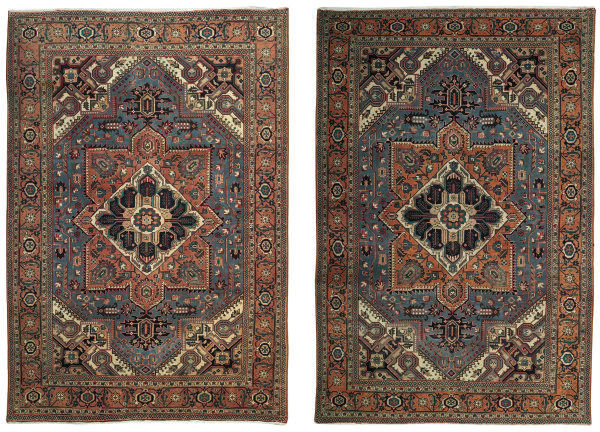 A pair of Heriz carpets