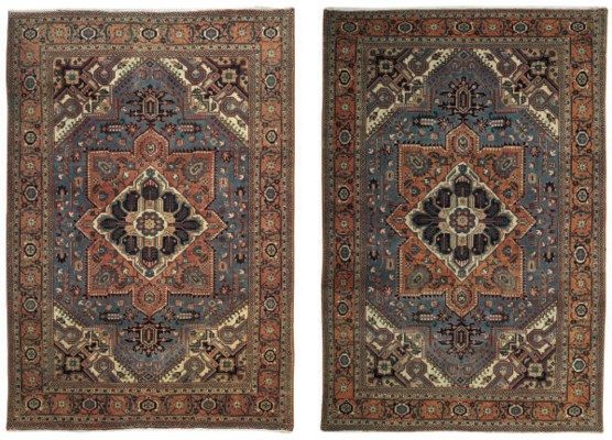 A pair of Heriz carpets