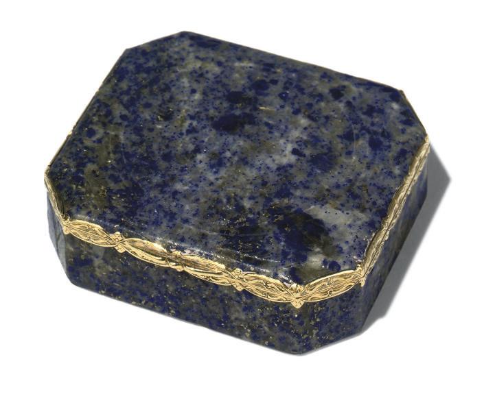 A CHINESE LAPIS-LAZULI BOX AND