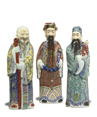 THREE CHINESE PORCELAIN FIGURE