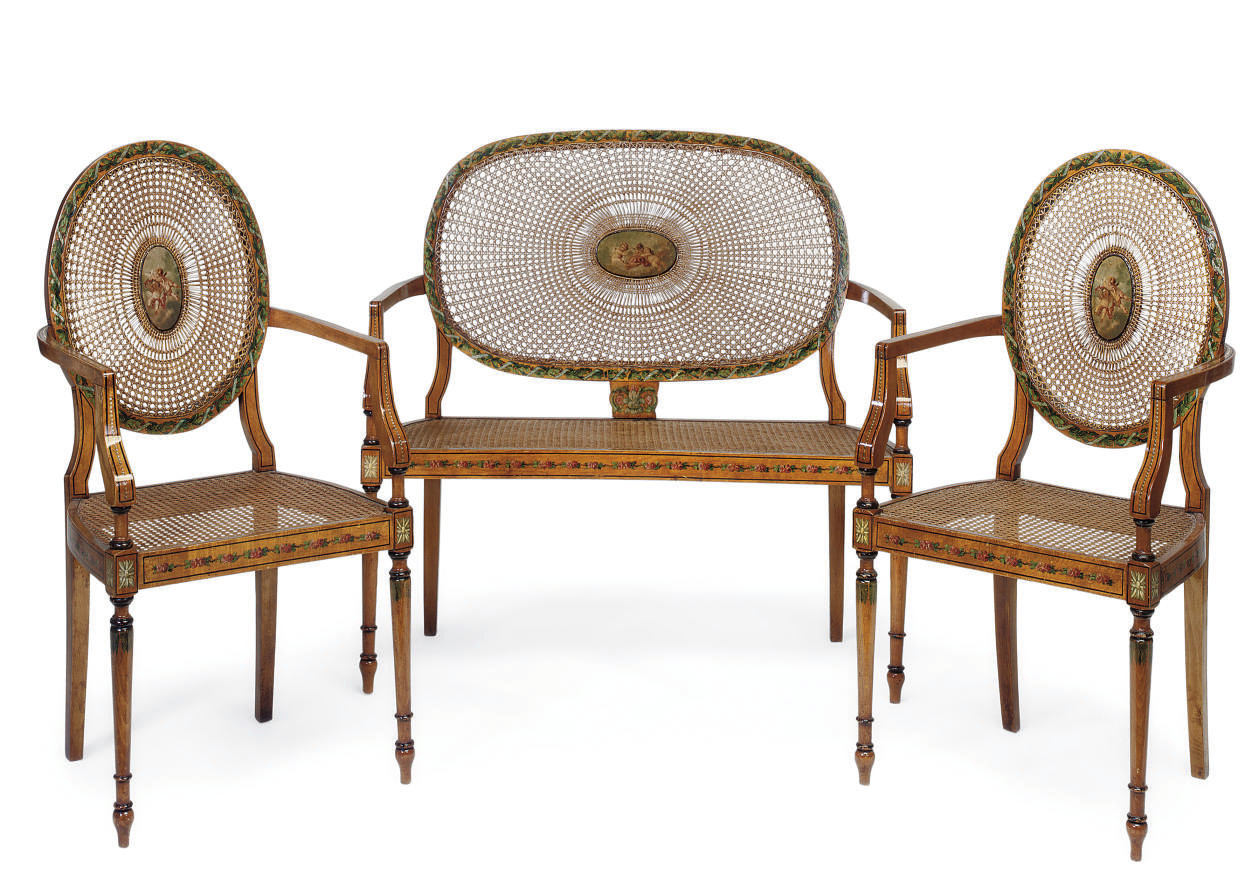 AN EDWARDIAN SATINWOOD AND CAN