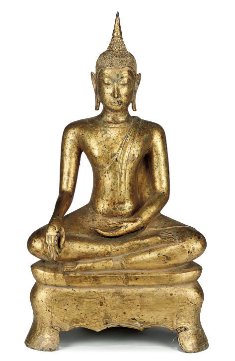 A SOUTH EAST ASIAN GILT BRONZE
