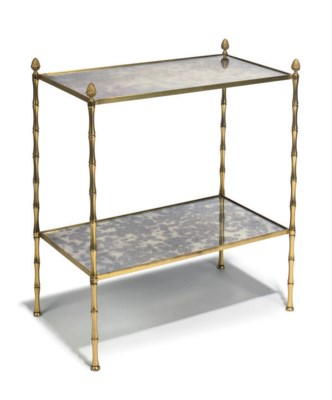 A BRASS TWO TIER ETAGERE