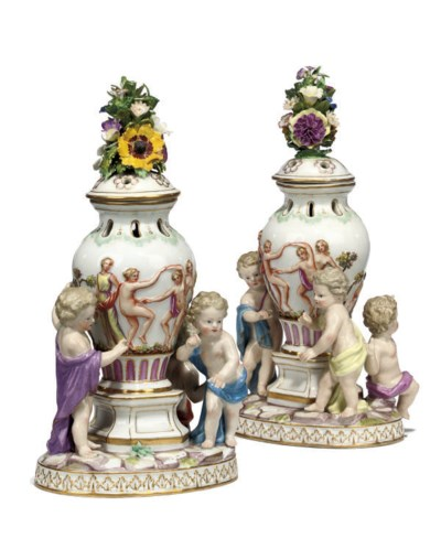 A PAIR OF MEISSEN FIGURAL POT-