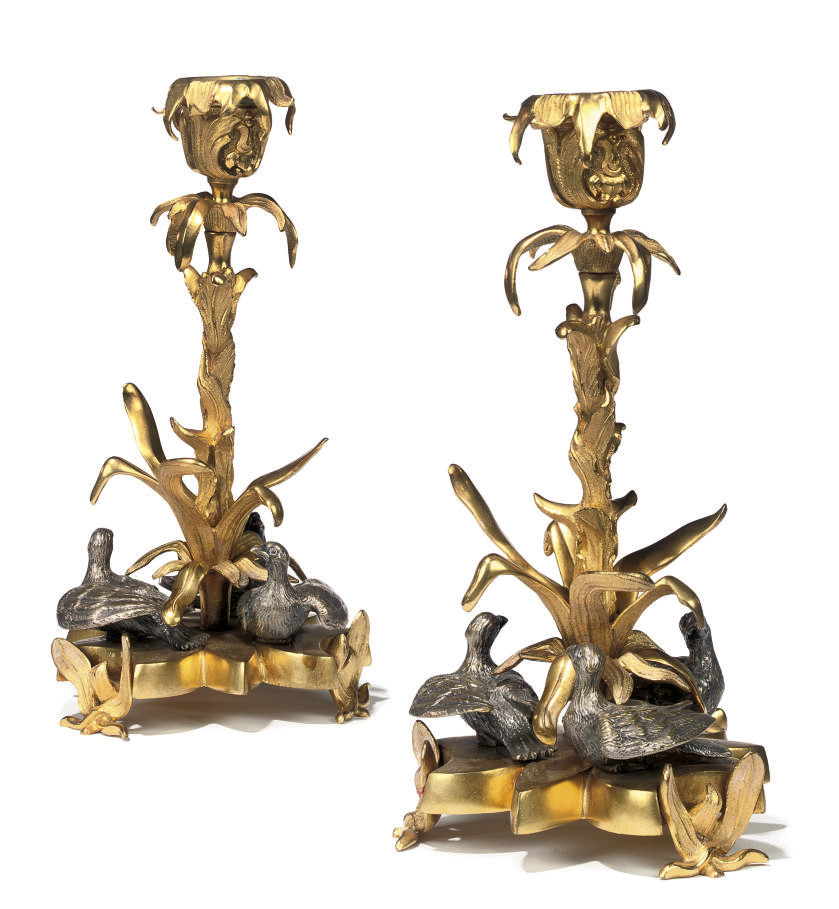 A PAIR OF SILVERED AND GILT BR