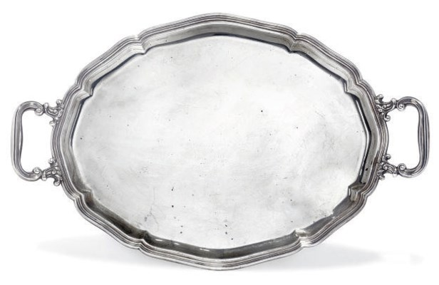 A GERMAN SILVER SHAPED OVAL TW