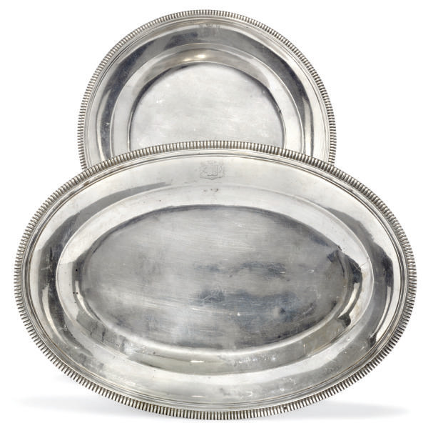 A FRENCH SILVER MEAT DISH AND