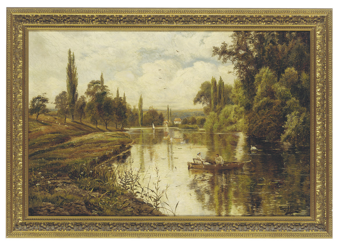 Lovers boating on the Thames, near Shiplake Mills