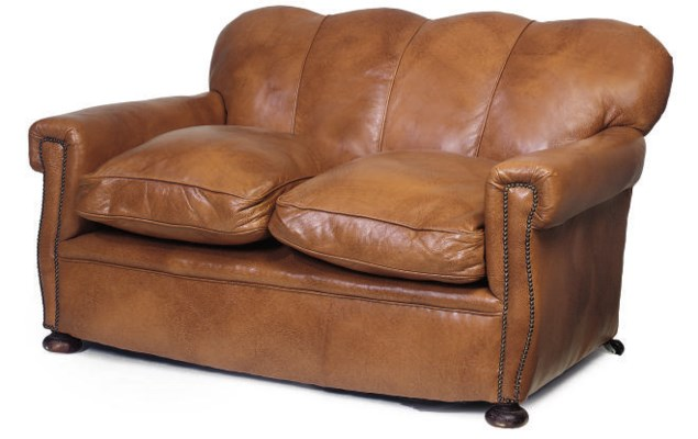 A LEATHER UPHOLSTERED SOFA