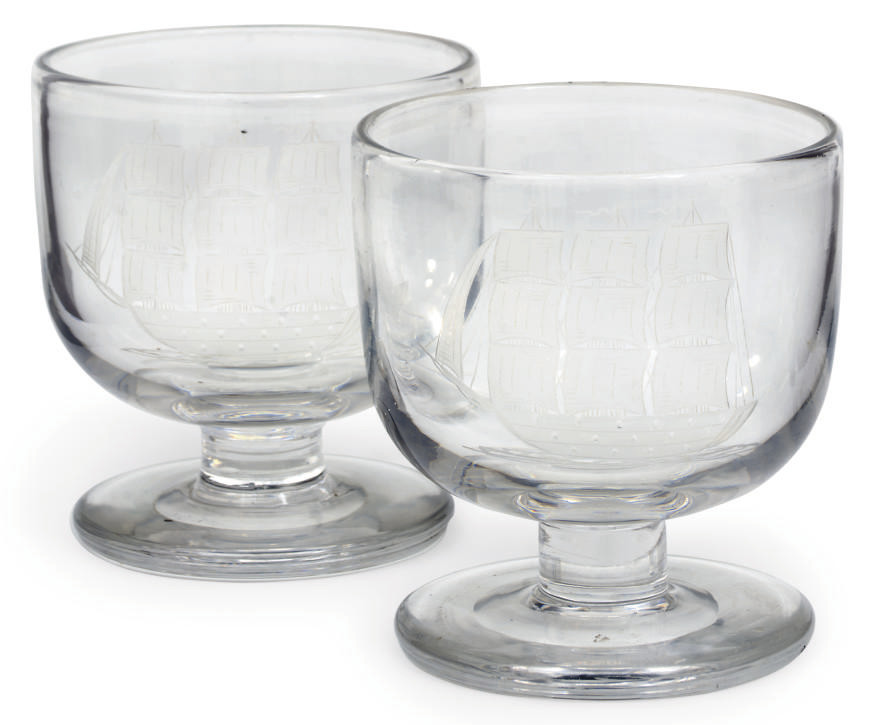 A PAIR OF ENGRAVED GOBLETS