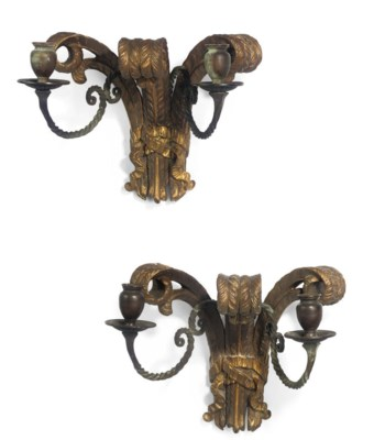A PAIR OF GILTWOOD AND METAL W