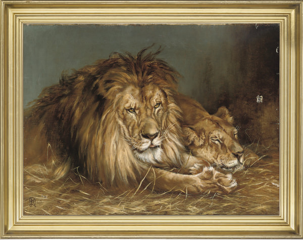 After Geza Vastagh , A Lion And A Lioness