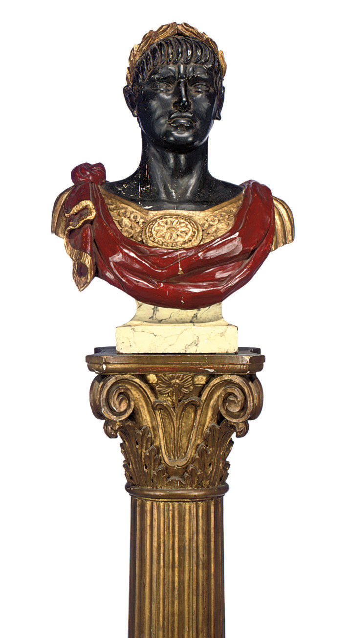 AN ITALIAN CARVED AND POLYCHRO