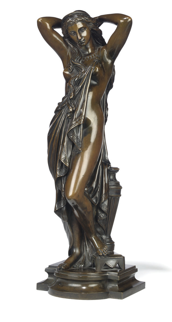 A FRENCH BRONZE FIGURE OF A NUDE, PROBABLY ENTITLED 'FEMME SE TRESSANT LES LONGS CHEVEUX'
