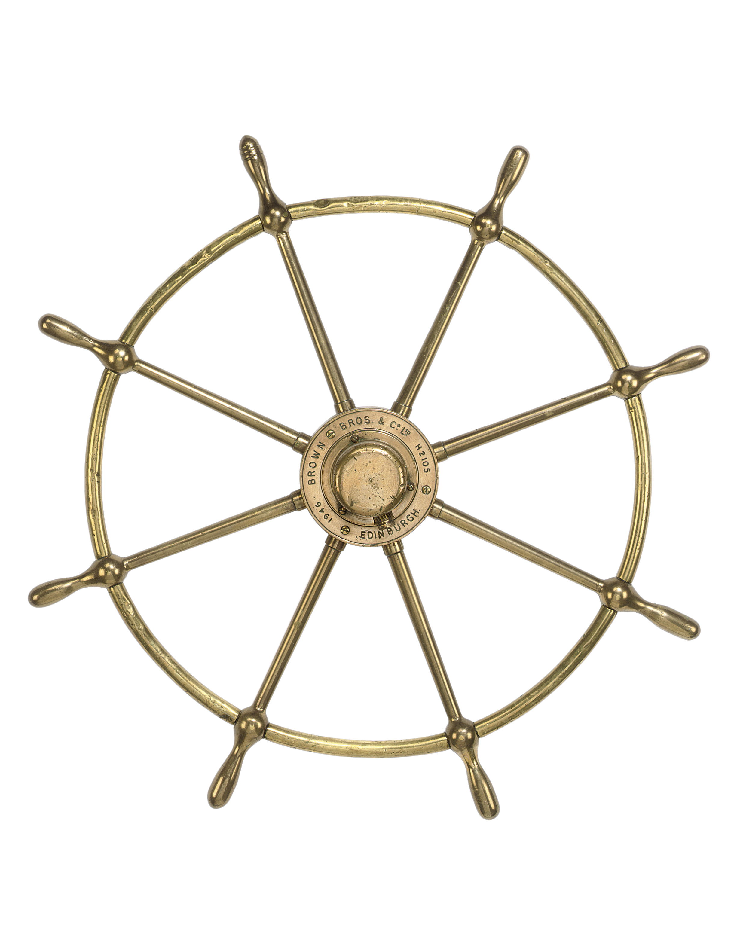 A BRASS SHIP'S WHEEL