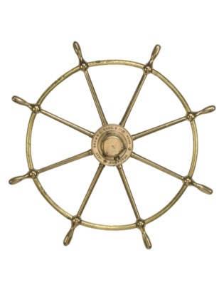 A BRASS SHIP'S WHEEL
