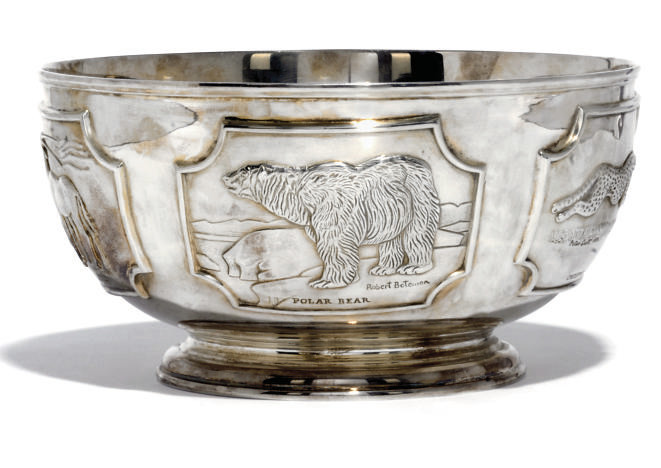 A MODERN SILVER ROSE BOWL, THE