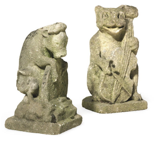 A PAIR OF COTSWOLD STONE GROUP