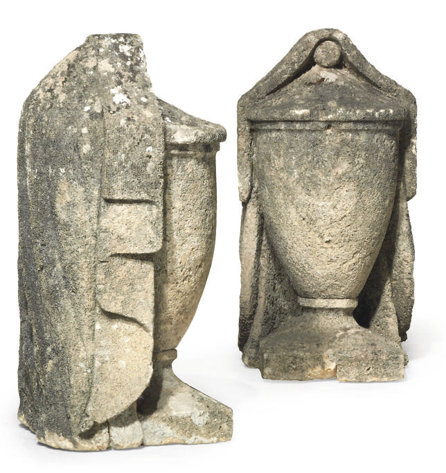 A PAIR OF ENGLISH LIMESTONE GA