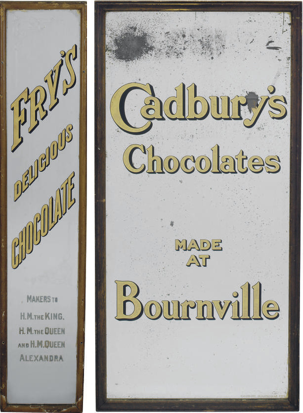TWO CHOCOLATE ADVERTISING MIRR