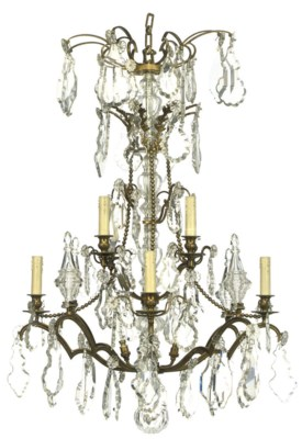 A FRENCH BRASS AND GLASS LUSTR