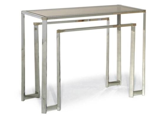 A CHROMIUM-PLATED CENTRE TABLE