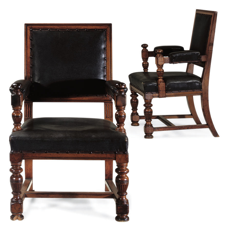 A PAIR OF WALNUT SIDE ARMCHAIR