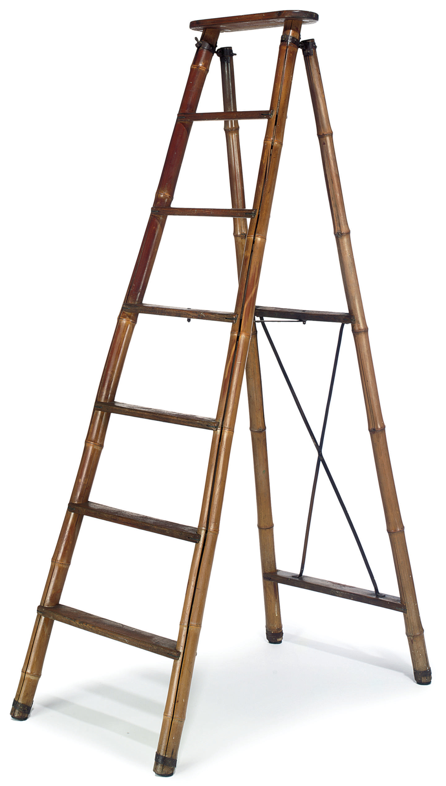 A BAMBOO AND ASH STEP LADDER
