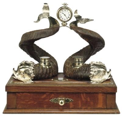 A Victorian oak and ram's horn