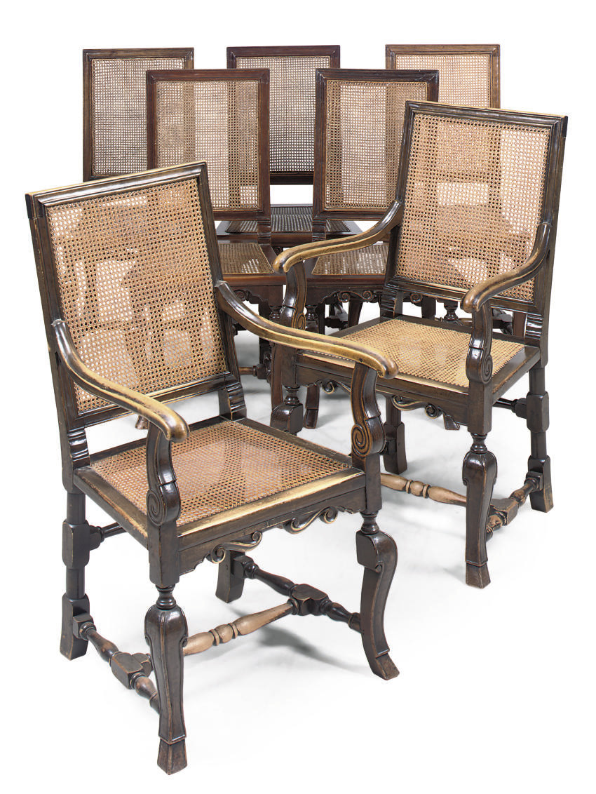 A SET OF EIGHT WALNUT AND BEEC