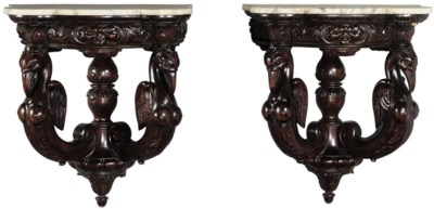 A PAIR OF STAINED WALL CONSOLE