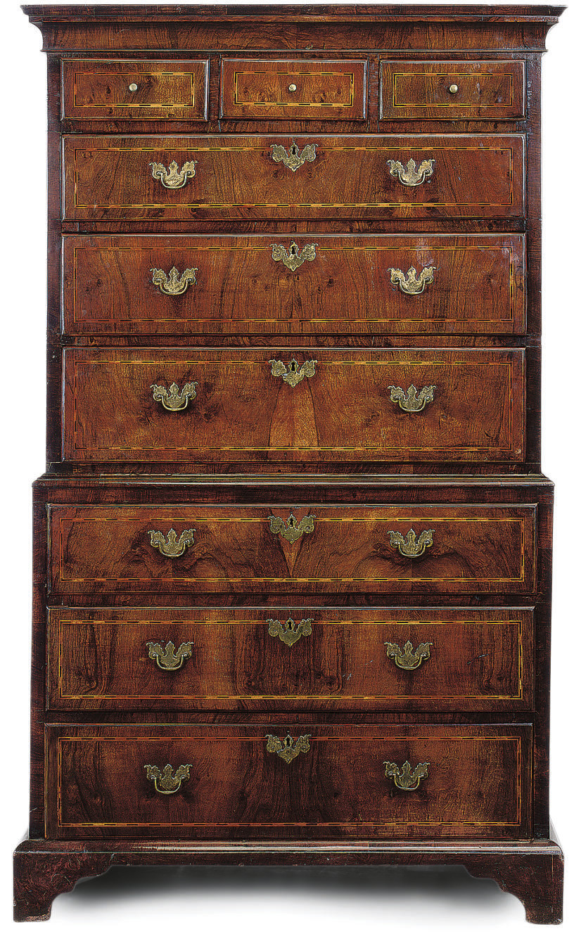 A WALNUT VENEERED AND CHEQUER-