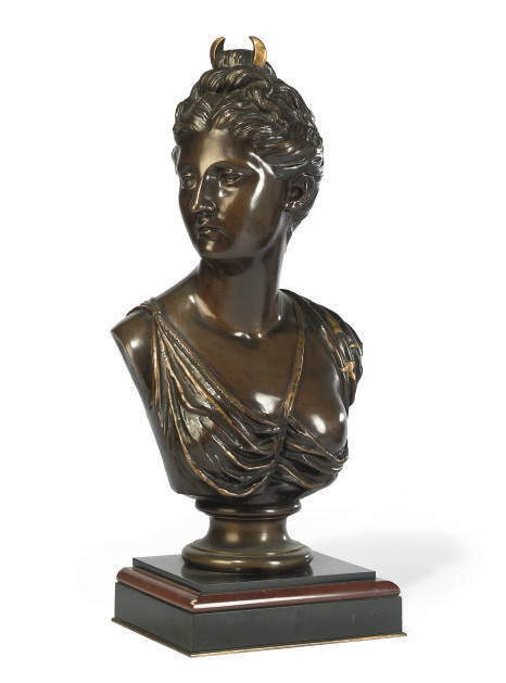 A FRENCH BRONZE BUST OF DIANA THE HUNTRESS