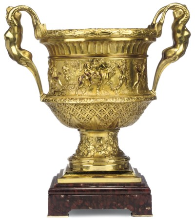 A FRENCH GILT-BRONZE TWO-HANDL