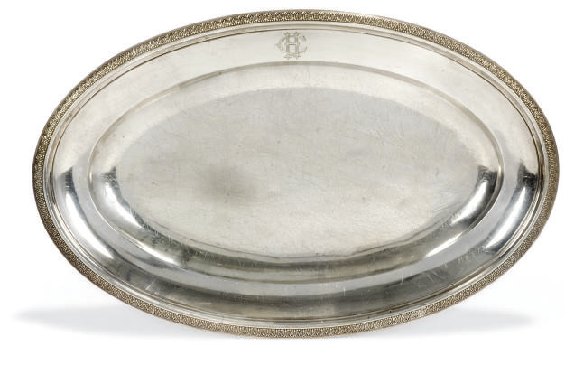 A FRENCH SILVER MEAT DISH