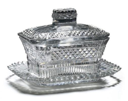 AN ANGLO-IRISH CUT-GLASS BUTTE