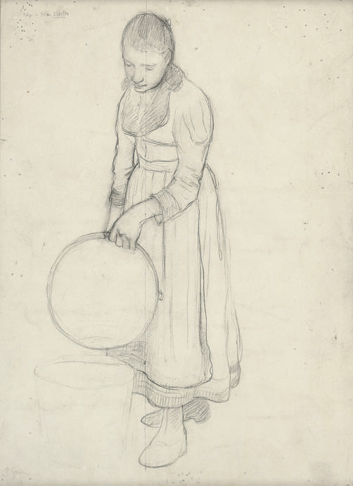 Sketch of a woman emptying a pail