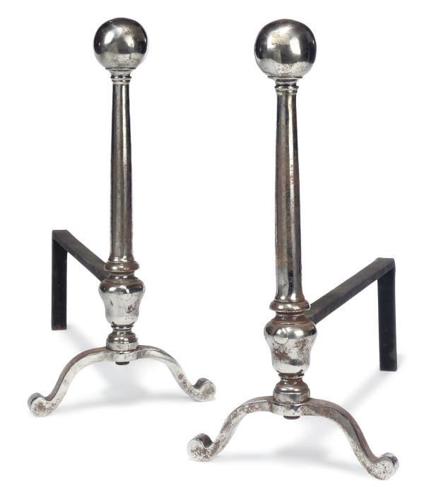 A PAIR OF STEEL ANDIRONS