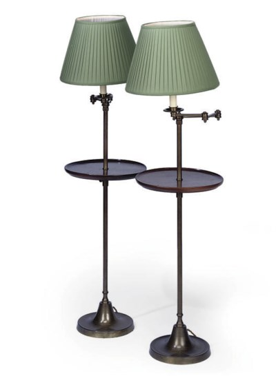 A PAIR OF BRASS AND MAHOGANY A