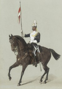 Review Orders:  A trooper of the 17th Lancers (illustrated); An officer of the 5th Lancers; An officer of the 17th Lancers; An officer of the 21st Hussars; and A trooper of the 5th Lancers