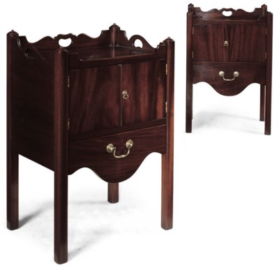 A PAIR OF MAHOGANY TRAY TOP BE